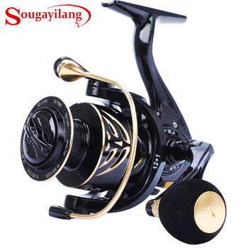 Sougayilang Spinning Reel 12+1BB 12KG Max Drag Power Fishing Reel Lightweight Graphite Frame CNC Aluminum Spool Wheel Pesca tsurinoya flying shark 6 2 1 high speed fishing reel 4000 5000 spinning reel 11 1bb 12kg drag aluminum spool carp fishing tackle