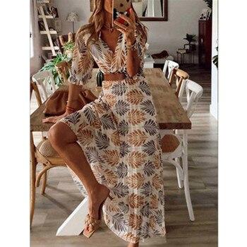 Женское свободное платье, повседневное пляжное Длинное свободное платье с v-образным вырезом и принтом, для отдыха, на лето и весну 2