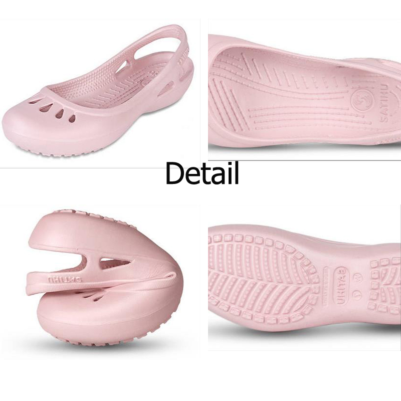 women Clogs Jelly Sandals Home Non-slip Summer Hole Shoes Female Flat slippers Plastic Female Girls Waterproof EVA  Garden Shoes 2