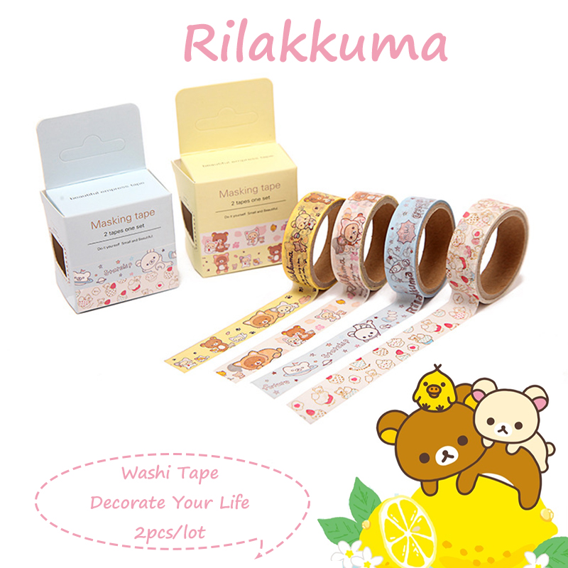 2pcs/lot Anime Rilakkuma Washi Tape Set Totoro Cute Stickers Scrapbooking Kawaii Decorative Sumikko Gurashi Japanese Stationery