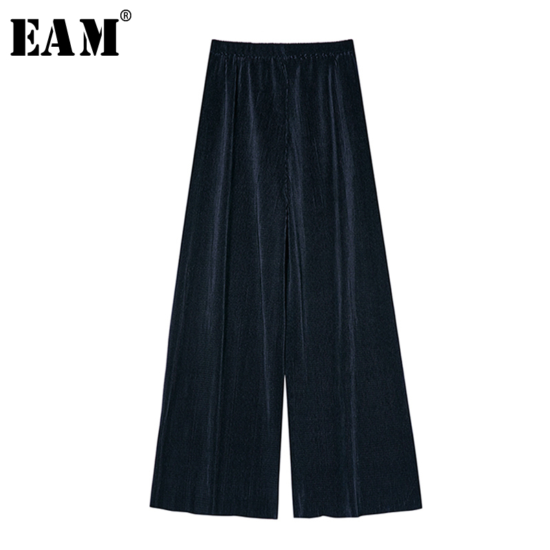 [EAM] High Elastic Waist Blue Pleated Long Wide Leg Trousers New Loose Fit Pants Women Fashion Tide Spring Autumn 2020 1S354