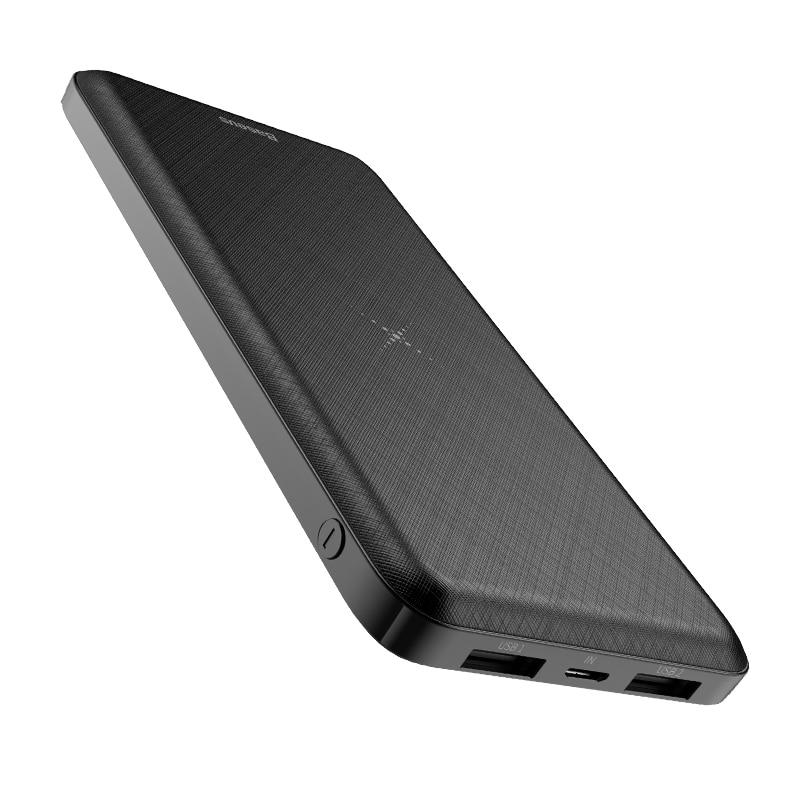 Baseus 10000 мАч Qi Беспроводное зарядное устройство Внешний аккумулятор Беспроводная зарядка внешний аккумулятор для iPhone11 X samsung huawei Xiaomi - Цвет: Black