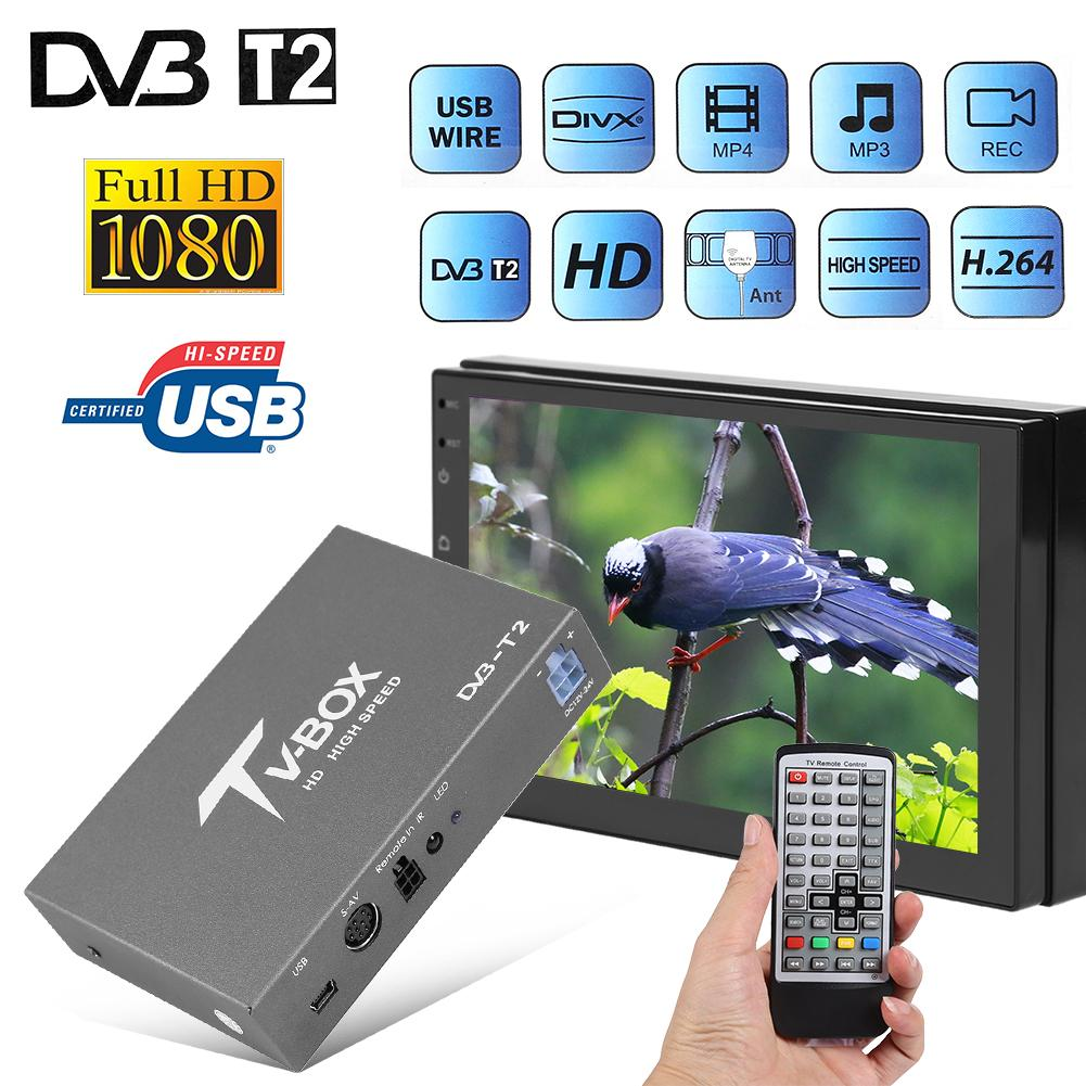 12V-24V <font><b>Car</b></font> Mobile DVB-T2 Digital <font><b>TV</b></font> Receiver Tuner Box for In <font><b>Car</b></font> DVD Radio Video System MP5 Player Strong Signal Receiver image
