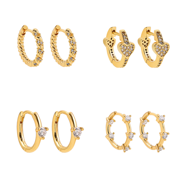 Fashion Colorful Crystal Small Hoop Earrings Clear CZ Geometric Circle Huggie Earrings For Women Jewelry 3