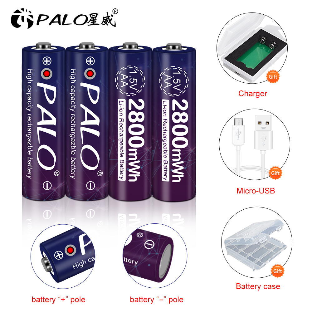 PALO AA 2800mWh 1.5V AA lithium battery 1.5V AA rechargeable battery for camera toy mouse+Palo 1.5V AA lithium battery charger image