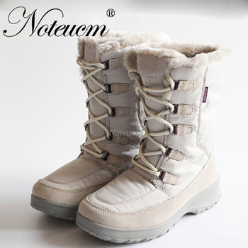 Real waterproof fabric outdoor white Female winter Ladies flat Ankle snow boots with Faux fur boots quilted shoe for women shose