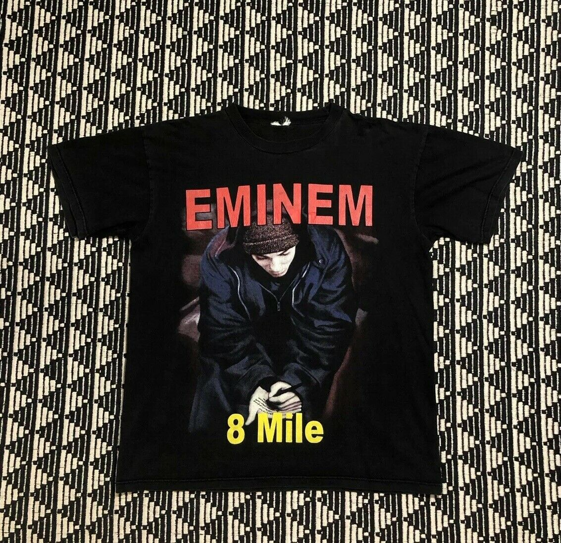 Vintage Eminem 8 Mile Movie Promo Tour Concert Rap Tee T Shirt 90s 2000s Large New Men'S Fashion Short-Sleeve T Shirt Mens image