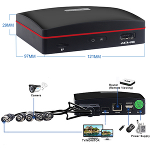 Image 5 - Akıllı 4CH 1080N 5 in 1 AHD DVR kiti CCTV sistemi 2 adet 720P/1080P IR AHD kamera açık su geçirmez gündüz & gece güvenlik kamera seti