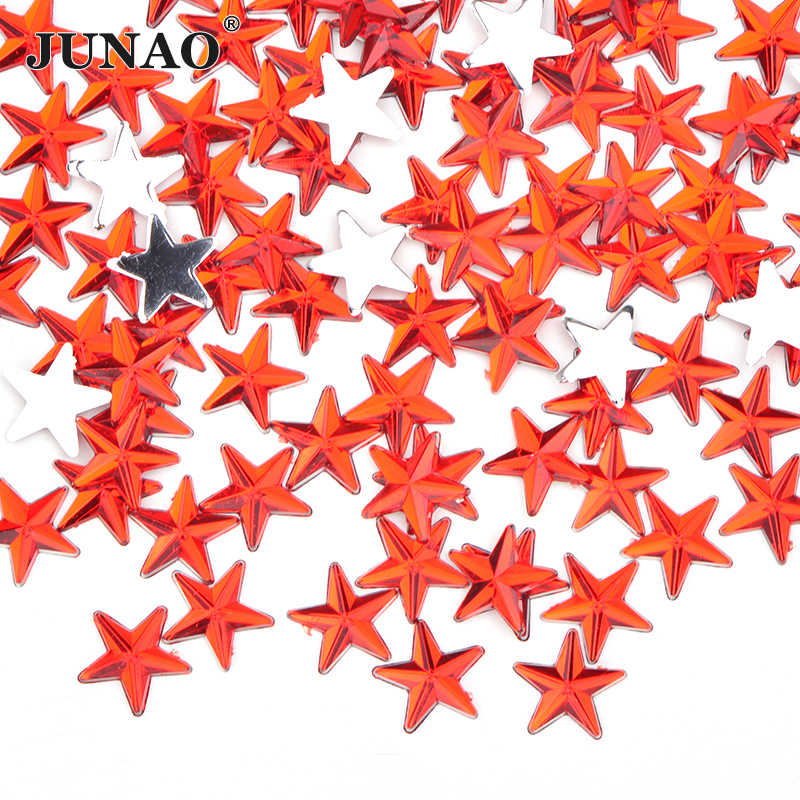 JUNAO 8 10 12 14mm שחור צבע כוכב ריינסטון מדבקות שטוח חזור אקריליק אבן נייל אמנות קישוט DIY פנים קריסטל Strass