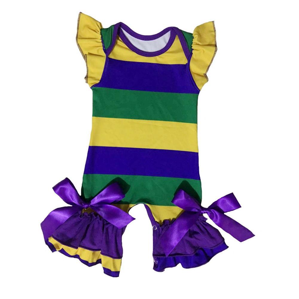 Mardi Gras Purple Green Yellow 3//6 Mth Baby Infant Long Sleeve Romper