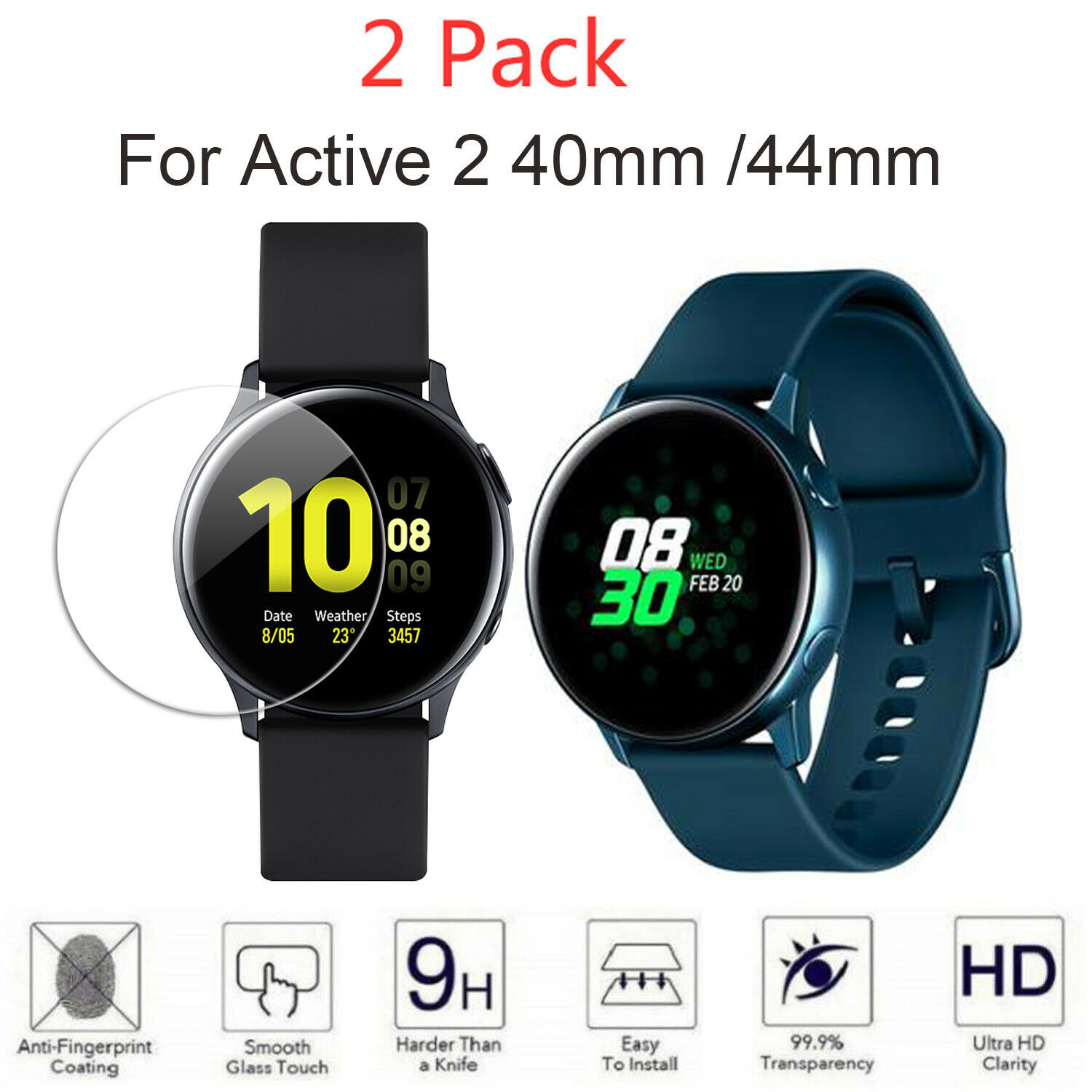 Active2 Tempered Glass Screen Protector Film For Samsung Galaxy Watch Active 2 40mm 44mm Screen Protection Film