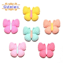 32Pcs/lots Lovely Butterfly for DIY Crafts Headwear Hair Clips Wedding Decoration Resin 3D Cabochons Animal Accessories Supplies