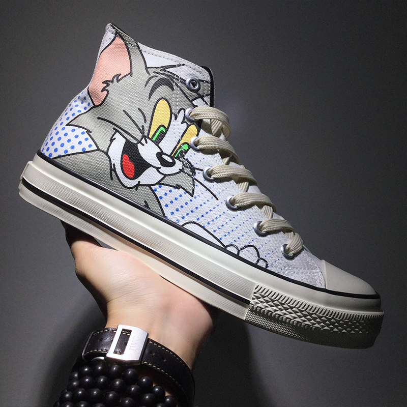 Men Canvas Shoes 2020 New Arrival High Top Sneakers Causal Shoes TOM&JERRY Print Stylish Male Vulcanize Footwear Back To School