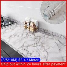 PVC Marble Self adhesive Wallpaper Decor Kitchen Bathroom 3D Waterproof marble Sticker Furniture Waterproof Desktop wall Sticker
