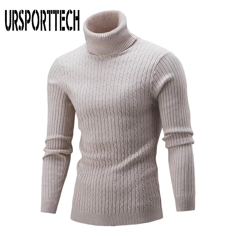 New Brand Autumn Winter Turtleneck Sweater Men Fashion Solid Knitted Mens Sweaters 2019 Casual Male Double Collar Slim Pullovers