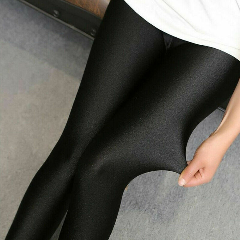 Women Ladies Solid Black Leggings Slim Skinny Stretchy Bodycon Long Leggings High Waist Leather Leggings
