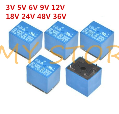 5 sztuk Mini moduł przekaźnik mocy SRD-5VDC-SL-C DC5V SPDT 5 Pins przekaźnik PCB niebieski