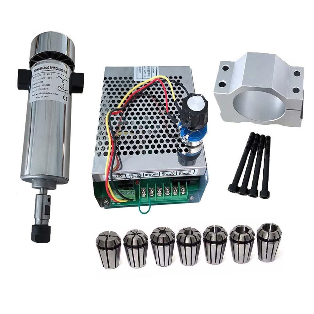 Шпиндель ER11 с воздушным охлаждением 0,8квт, патрон CNC DC110V 20000 ОБ/мин 800 Вт, Шпиндельный двигатель + регулятор скорости электропитания для DIY ЧПУ