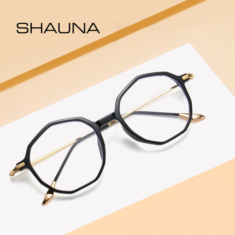 SHAUN Fashion Transparent Frame Irregular Polygon Eyeglasses Vintage Classic Clear Lens Glasses Eyewear