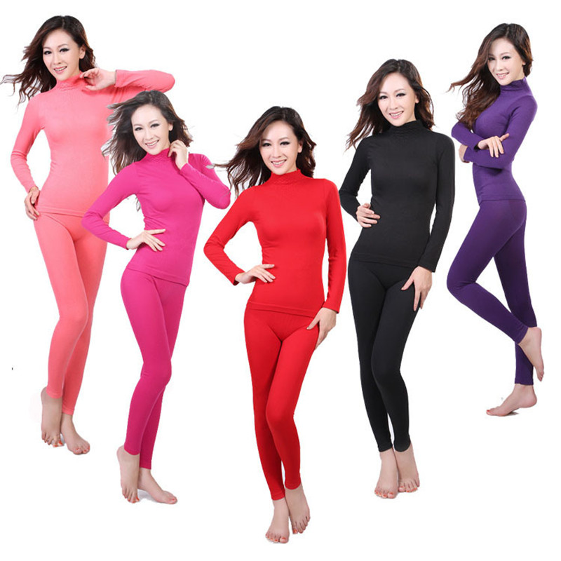 High Elasticity Turtleneck Second Female Thermal Skin Body Feminino Slim Thermal Underwear For Women Winter Warm Suit Long Johns