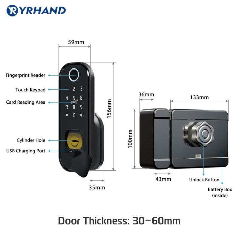 Hot DealsRim-Lock Smart-Card Fingerprint Wifi Digital-Code Waterproof Electronic Home-Security