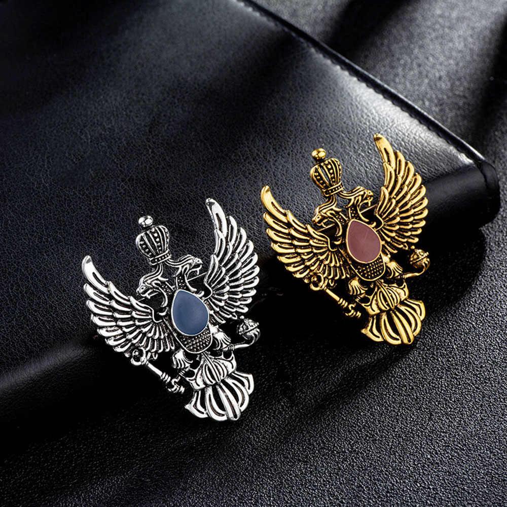 High-End Retro Sayap Logam Pin Bros Vintage Double-Headed Eagle Lencana Bros Punk Mahkota Suit Kerah Pin aksesoris Pria-1 Pcs