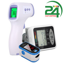 Tonômetro monitor de oxigênio no sangue display oled oxigênio no sangue dedo oxímetro pulso saturação de oxigênio monitor + termômetro digital