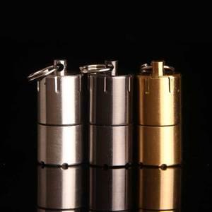 Image 2 - Mini Compact Kerosene Lighter Capsule Gasoline Lighter Inflated Key Chain Lighter Grinding Petrol Wheel Lighter Outdoor Tools