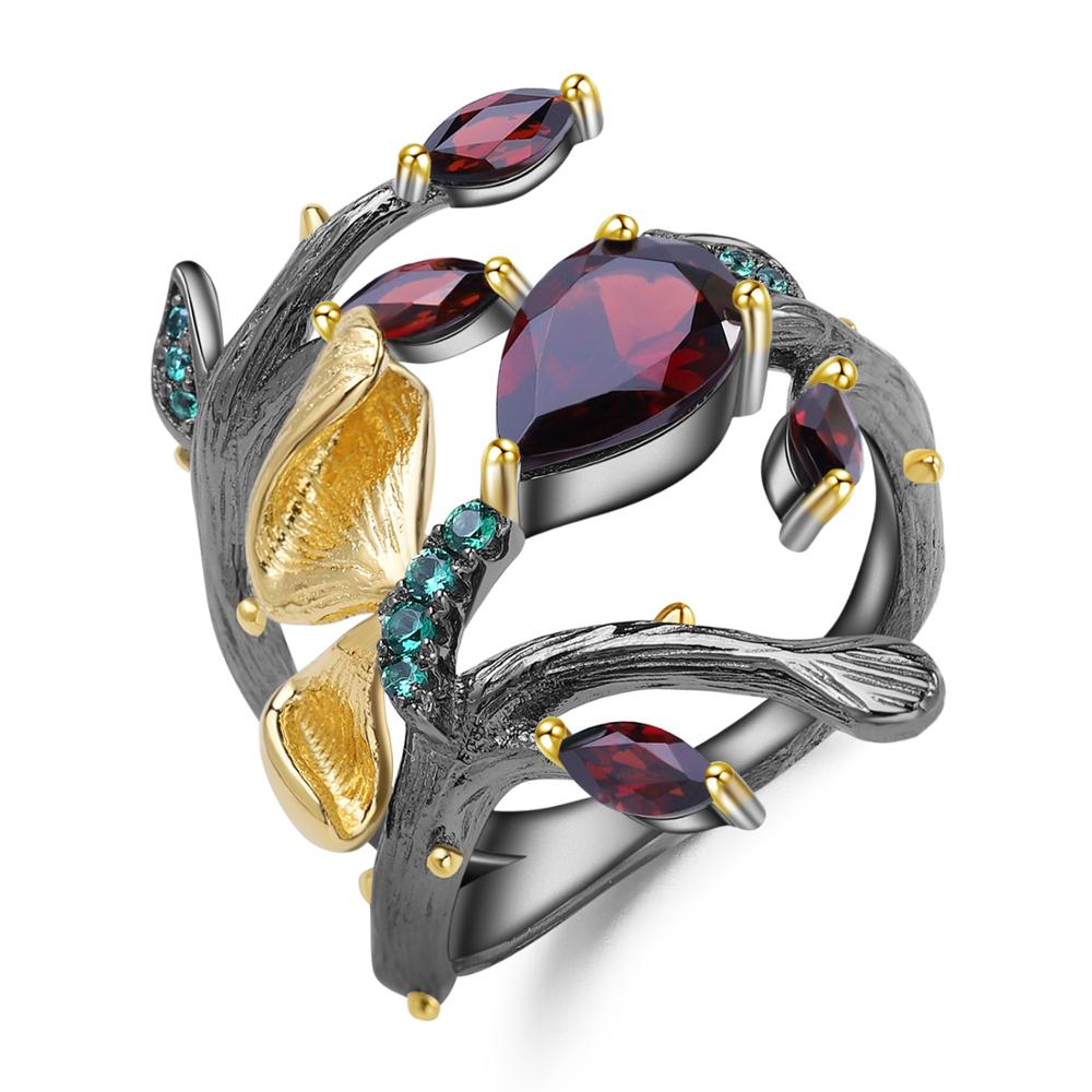 GEM'S BALLET 2.37Ct Natural Red Garnet Rings For Women 925 Sterling Silver Original Handmade Butterfly Flower Branth Ring Bijoux
