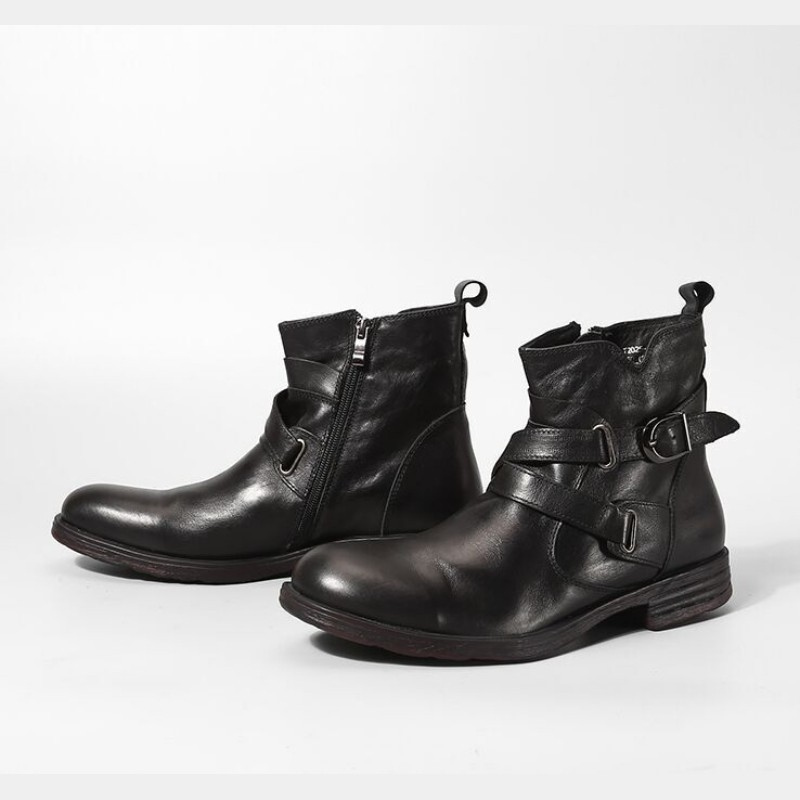 Retro Side Zip Genuine Leather Ankle Boots Men Luxury Brand Black Brown Round Toe Motorcycle Boot Business Casual Buckle Booties