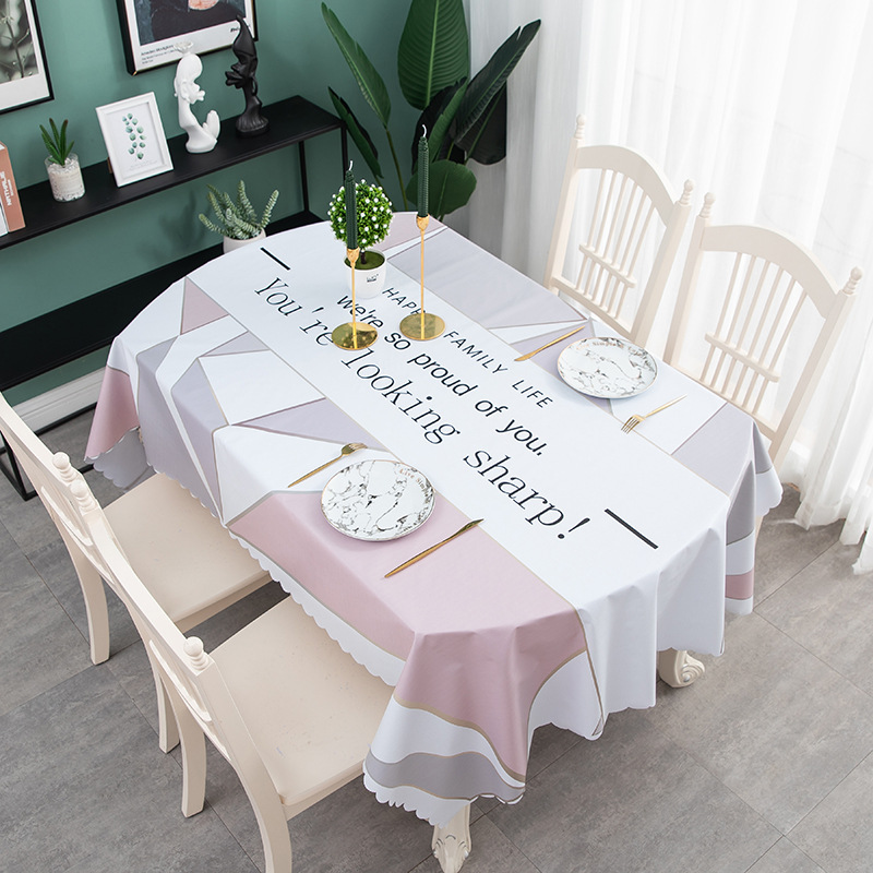 Household Tablecloth, Waterproof, Oil-proof, Burn-proof Oval Tablecloth, Household Modern Simple Coffee Table, Straight Lace