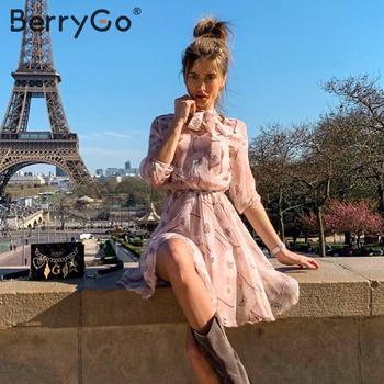 BerryGo Vintage floral print boho dress women Casual long sleeve spring chic party dress High waist work wear office lady dress 2