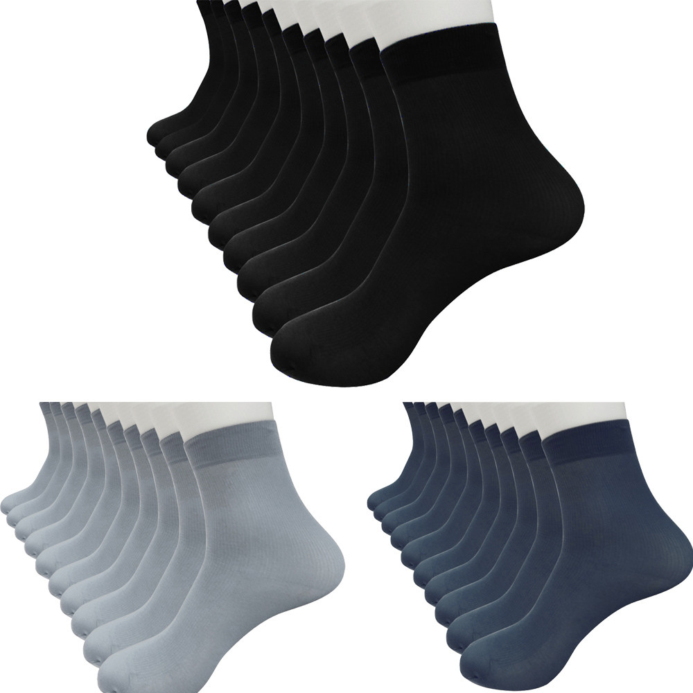 10 Pairs Bamboo Fiber Men Socks Ultra-thin Elastic Silky Short Silk Stockings Men Socks  2019 Breathable Bamboo Fiber Socks Men