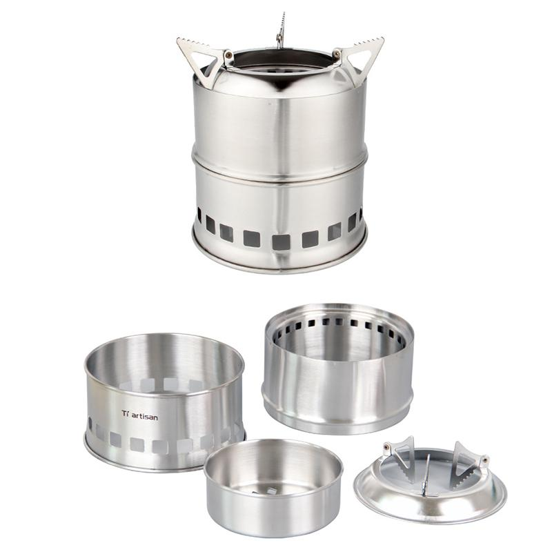 1 Pcs HobbyLane Portable Durable Outdoor Cooking Stove Round Stainless Steel Portable Split Furnace Camping Hiking Tools