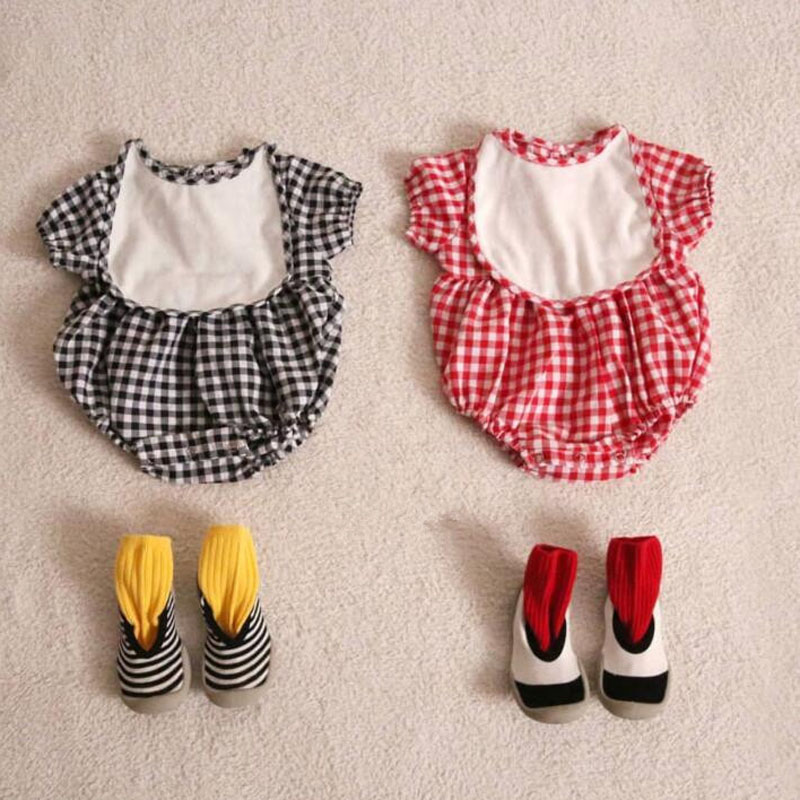 MILANCEL 2020 Summer Baby Clothing  Plaid Baby Bodysuits Korean Style Infant Girls Outfit Baby  One Pieces With Bibs