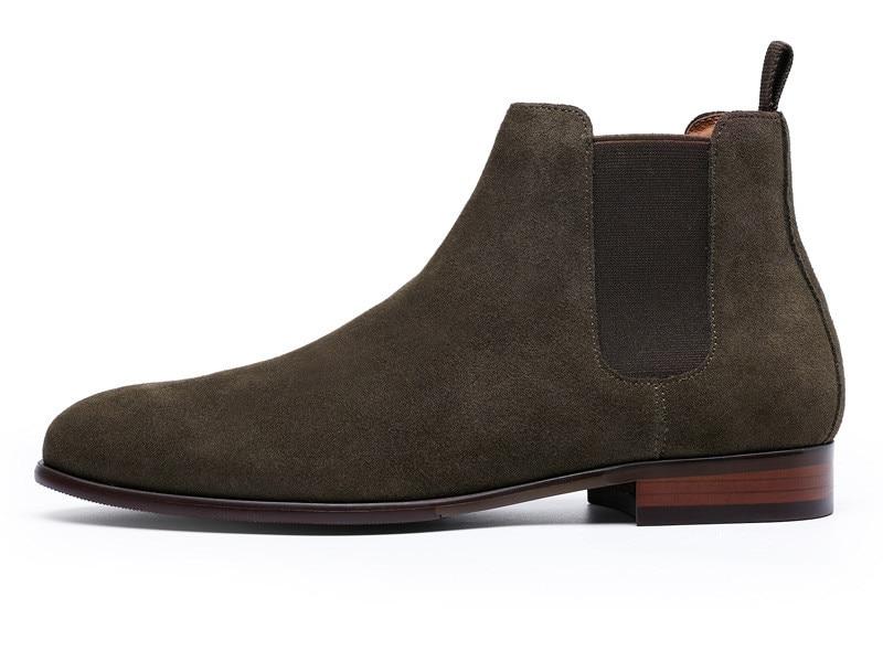 2019men's boots leather men's Chelsea boots plus size shoes top layer leather retro Martin boots winter plus velvet cotton boots