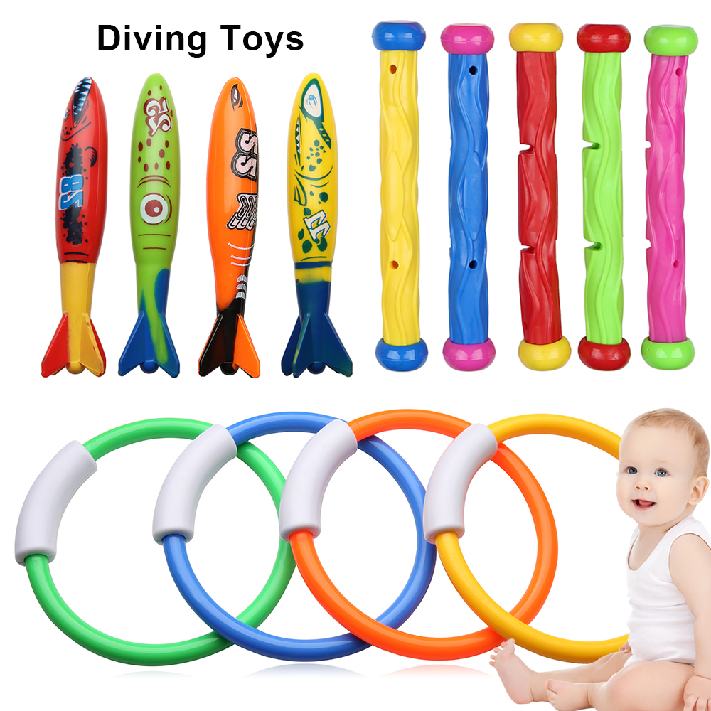 13Pcs Kids Children Diving Ring Water Toys Pool Summer Swimming Water Fun Loaded Throwing Diving Toys Underwater Beach Toy