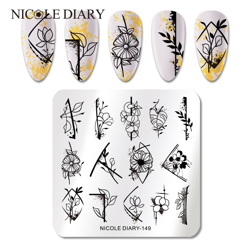 NICOLE DIARY Flower Marble Striped Line Nail Stamping Plates Image Stamp Templates Geometric Stainless Steel Stencil Tool