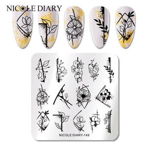 Трафареты NICOLE DIARY для стемпинга ногтей, пластины из нержавеющей стали с мраморными полосками, цветами, изображением штампов, геометрический...