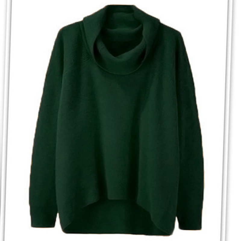 WOMEN'S Autumn And Winter Sweater Turtleneck Fashion High Collar Irregular Top Over Size Loose-fit Knitted Over-the-knee Sweater