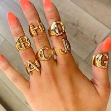 Кольцо инициальное Золотое женское готический винтажный аксессуар