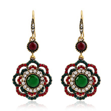 Flowers Europe and America Fashion Vintage Jewelry Bohemian National Style Openwork Flower Earrings Womens