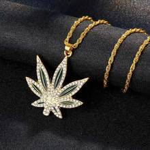 Dropshipping 2019 Fashion Maple Leaf Necklace Hip Hop Punk Hemp Leaf Pendant Charm Chain NeckLace For Women Men Gifls Jewelery(China)