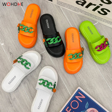 Wohdhe Platform Women Slippers Comfortable Gold Chain Lady  Flip Flops Outdoor Beach Slides Sandals High Heels Thick Sole Solid