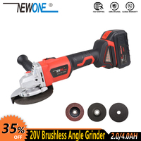 NEWONE 20V Brushless 4000mAh Lithium Ion cordless Angle Grinder With Paddle Switch Cordless Polisher grinding cutting power tool