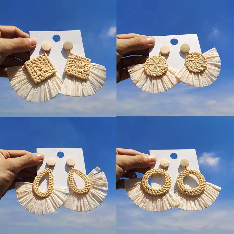 ボヘミアンラフィットドロップピアス幾何サークル水滴女性ラフィアわら手作りイヤリング女性のジュエリー