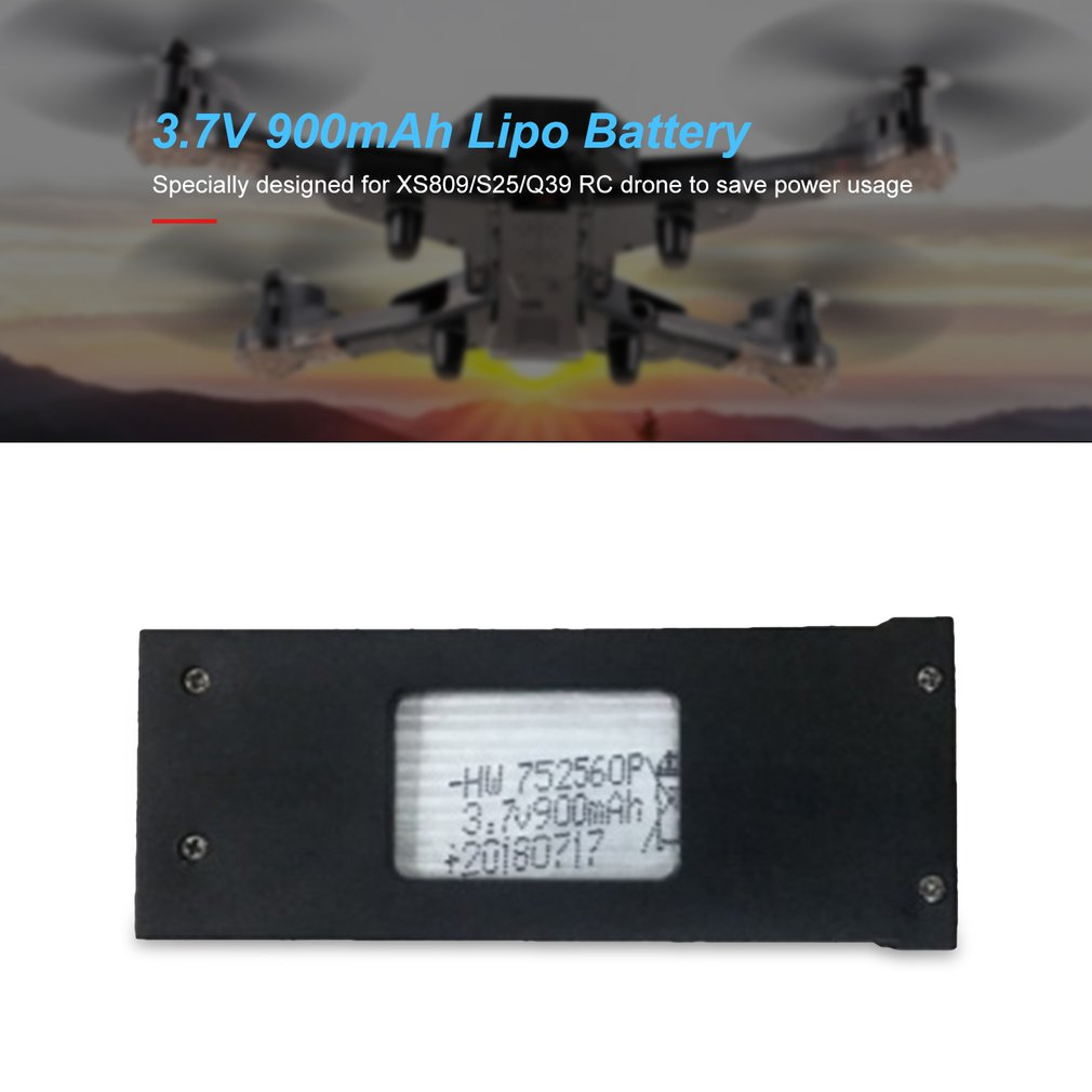 <font><b>3.7V</b></font> <font><b>900mAh</b></font> <font><b>Lipo</b></font> <font><b>Battery</b></font> For XS809/S25/Q39 FPV RC Drone Spare Parts Accessories Replace Rechargeable <font><b>Batteries</b></font> image
