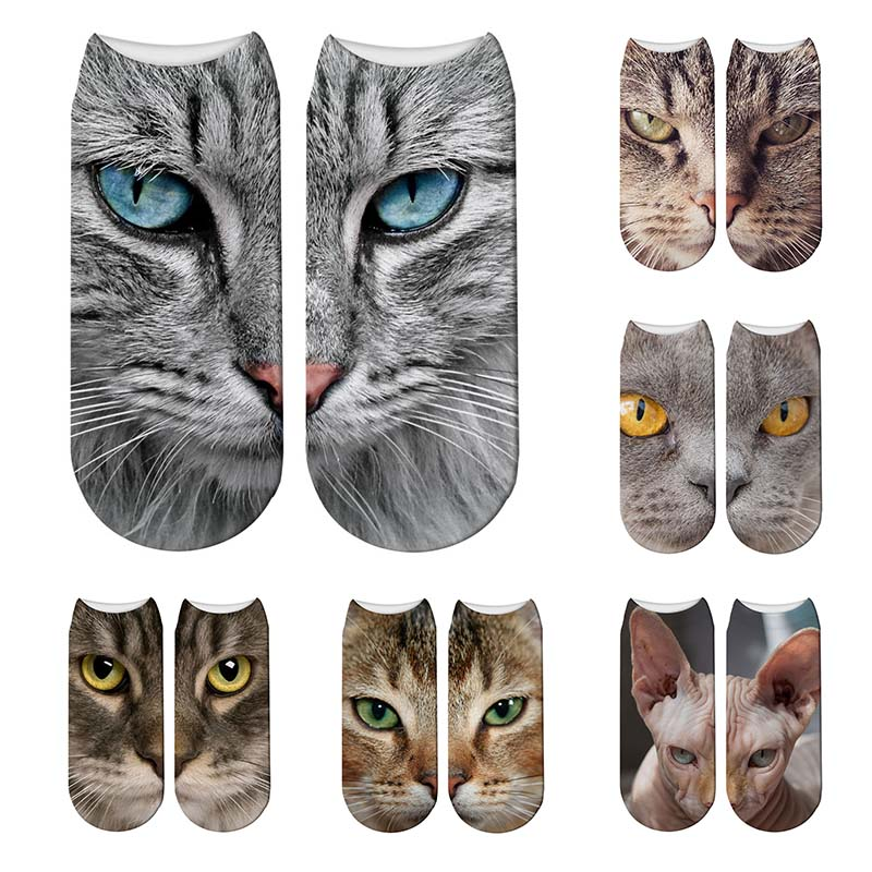 New Design 3D Printed Women Christmas Socks Funny Creative Pet Cat Face Unisex Cotton Socks Harajuku Children Low Ankle Socks