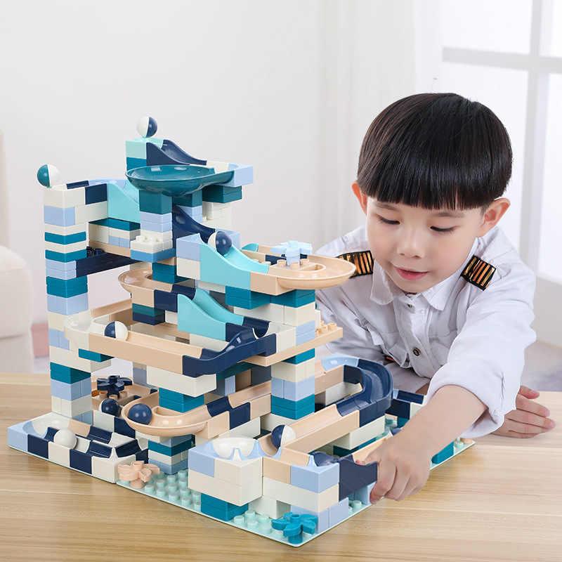 160PCS Blöcke Marmor Rennen Run Block Kompatibel LegoINGlys Duploed Bausteine Trichter Rutsche Blöcke DIY Ziegel Spielzeug Für Kinder