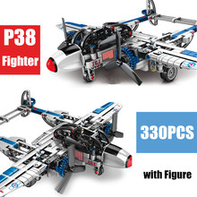 New Military World War II Army Weapons American P38 Plane Fighter Fit Lepinings Technic Building Blocks Bricks Kid Gift Toys creator blocks technic compatible legoinglys military world war ii tiger tank weapons armored vehicle bricks toys for children